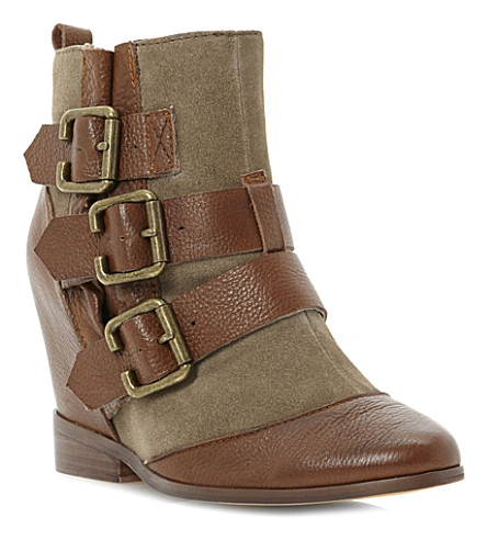 BERTIE Python wedge boots (Tan-leather
