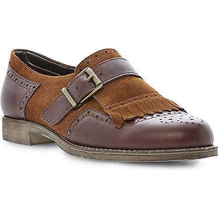 BERTIE Locket leather and suede monk shoes (Brown-suede