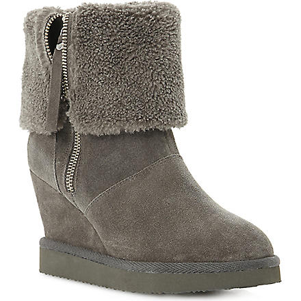 DUNE Reach suede ankle boots (Grey-suede