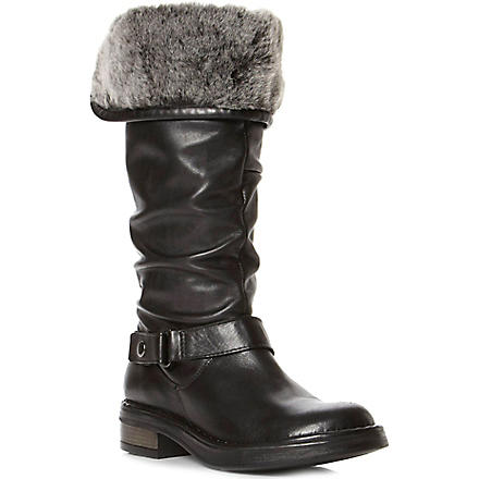 DUNE Reading faux-fur lined leather calf-high boots (Black