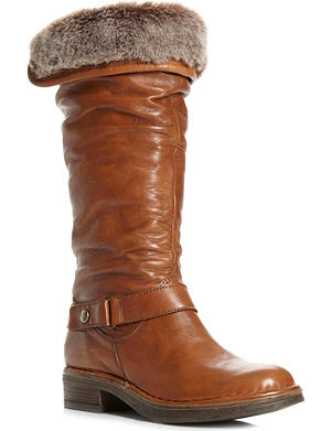 DUNE Reading faux-fur lined leather calf-high boots
