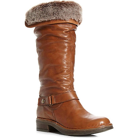 DUNE Reading faux-fur lined leather calf-high boots (Tan