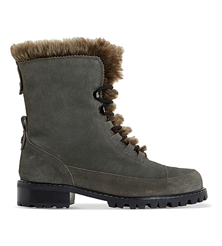 DUNE Raleigh faux-fur lined suede boots (Grey-suede