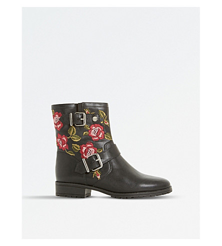 DUNE Riva - floral applique ankle boot (Black-leather