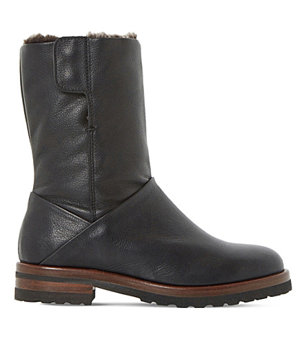 DUNE Rayner shearling-lined leather boots (Black-leather