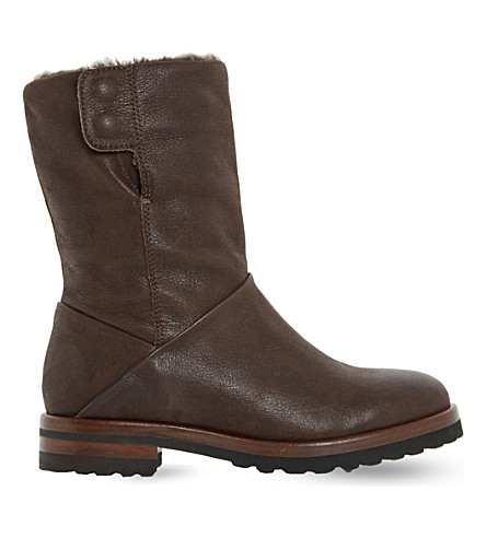 DUNE Rayner shearling-lined boots (Brown-leather
