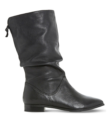 DUNE Rosalind slouchy leather boots (Black-leather