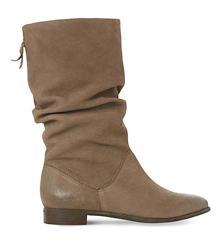DUNE Rosalind ruched leather calf boots (Taupe-leather