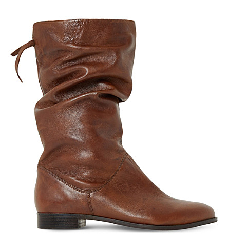 DUNE Rosalind slouchy leather boots (Tan-leather