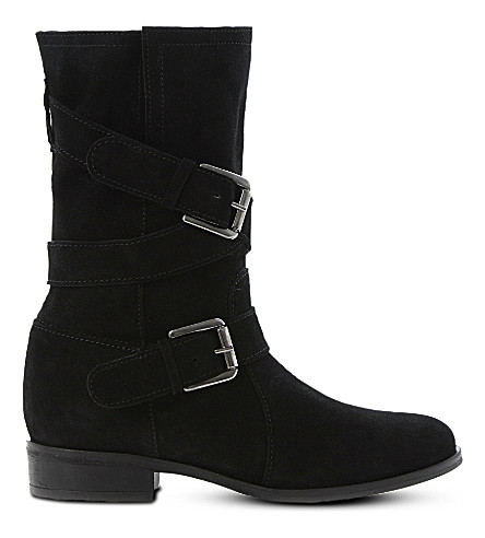 DUNE Reo buckle-detail suede calf boots (Black-suede