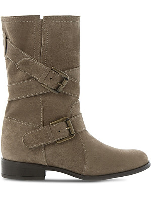 DUNE Reo buckle-detail suede calf boots