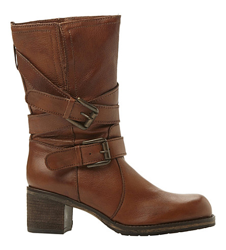 DUNE Rocking buckle-detail leather boots (Tan-leather
