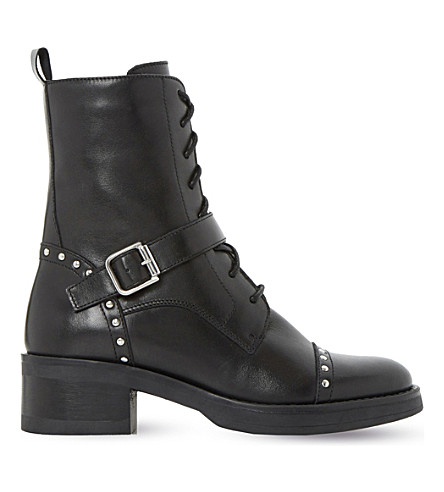 DUNE Roxbury studded leather biker boots (Black-leather