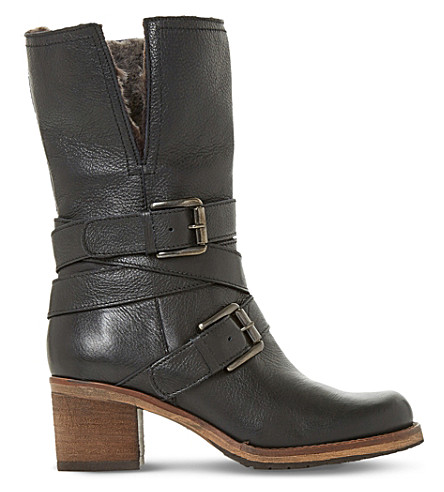 DUNE Rockerr buckled leather boots (Black-leather