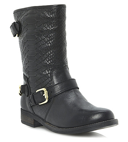 DUNE Rottie leather biker boots (Black-leather