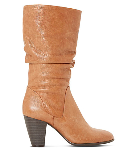 DUNE Rossy slouchy leather boots (Tan