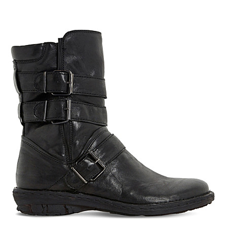 DUNE Rania leather biker boots (Black-leather