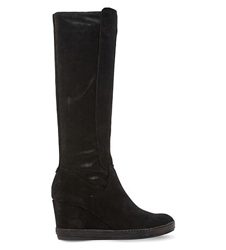 DUNE Vera suede knee-high boots (Black-suede