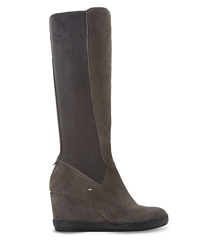 DUNE Wedge suede knee-high boots (Grey-suede