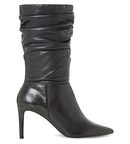 DUNE Reenie ruched leather calf boots (Black-leather