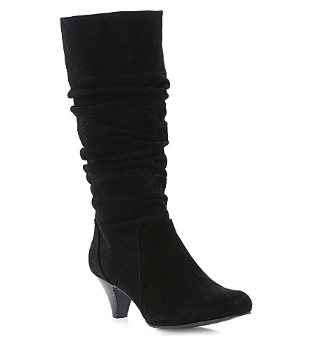 DUNE Reta ruched-detail suede calf boots (Black-suede
