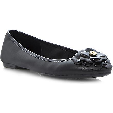 DUNE Mariah flower corsage ballerina flats (Black-leather