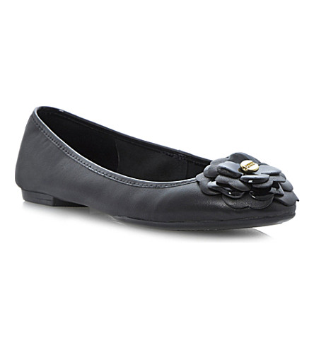 DUNE Mariah flower corsage ballerina flats (Black-leather