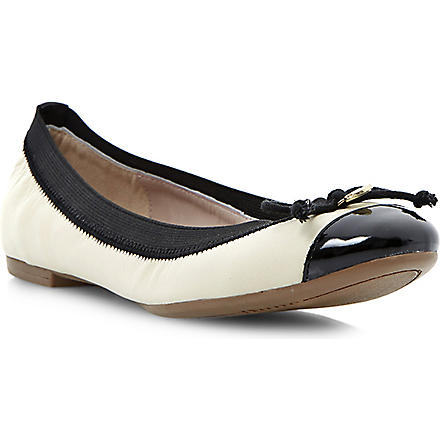 DUNE Marisa leather ballerina flats (Off white-leather