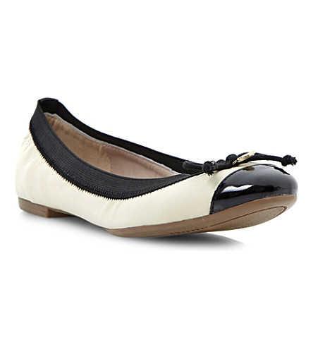 DUNE Marisa leather ballerina flats (Off white-leather