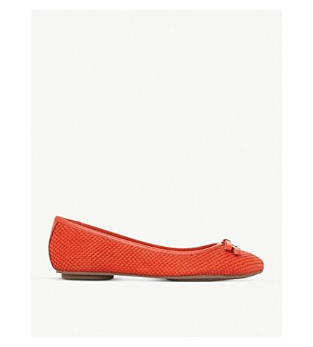 DUNE Harps leather ballet pumps (Orange-reptile