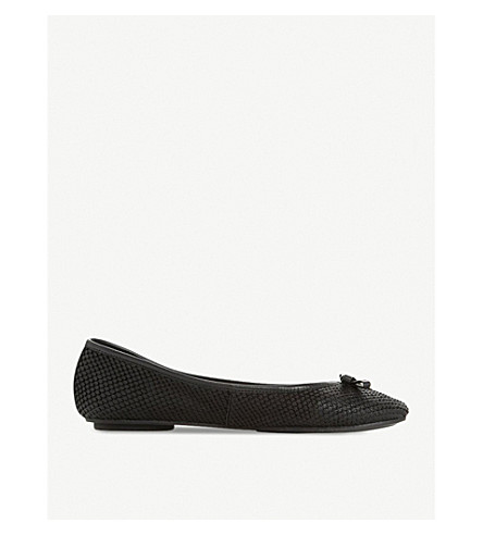 DUNE Harps leather ballet pumps (Black-reptile