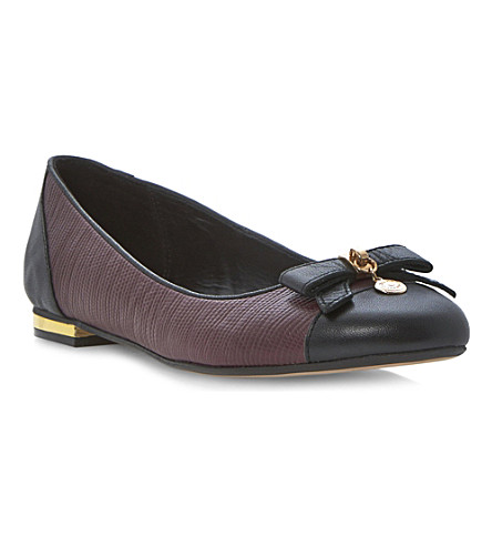 DUNE Montee bow-detail ballerina pumps (Burgundy