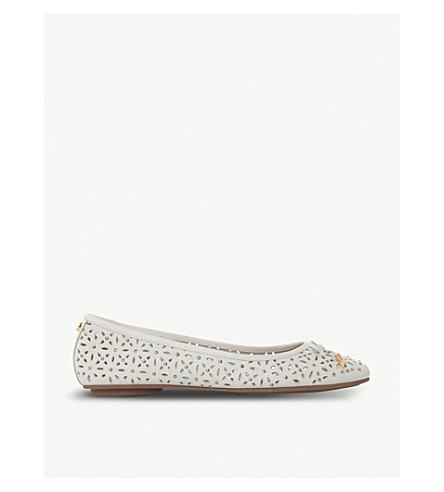 DUNE Helenn floral laser-cut leather ballet pumps (White-leather