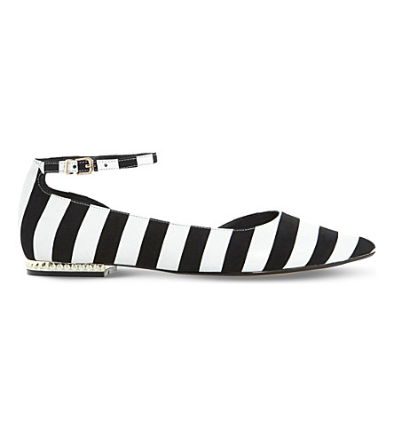 DUNE Hustle striped leather flats (Black/white-leather