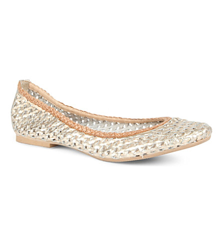 DUNE Malawi woven leather pumps (Gold-leather