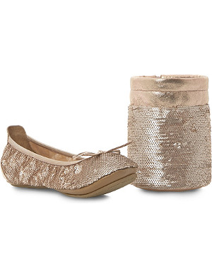 DUNE Manhattan sequin fold-up ballerina flats