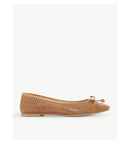 DUNE Hennah woven-leather ballet flats (Tan-leather