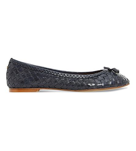 DUNE Hove leather ballet flats (Navy-leather