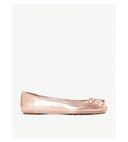 DUNE Harland metallic patent ballerina pumps (Rose+gold-leather