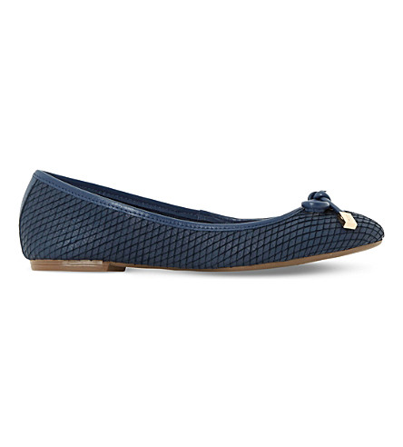DUNE Hero reptile-effect leather ballet shoes (Navy-reptile