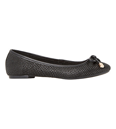 DUNE Hero reptile-embossed ballerina pumps (Black-reptile