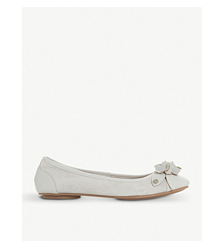 DUNE Honeysuckle floral-detail leather ballet flats (Grey
