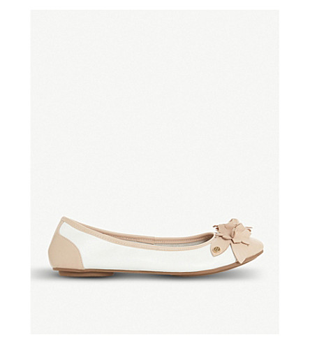 DUNE Honeysuckle floral-detail leather ballet flats (White-leather