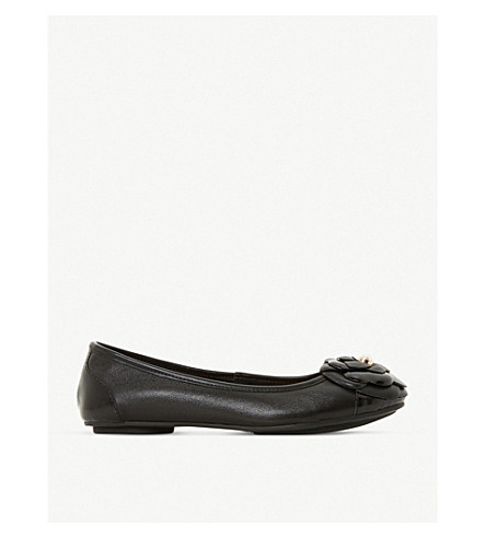 DUNE Hyacinthia flower-detail leather ballerina shoes (Black-leather