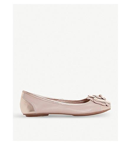 DUNE Hyacinthia flower-detail leather ballerina shoes (Blush-leather