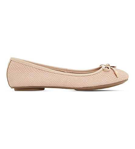 DUNE Hype reptile-effect leather ballet flats (Nude-reptile