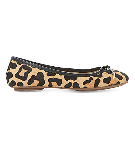 DUNE Hero leopard-print pony-finish ballet pumps (Leopard-pony