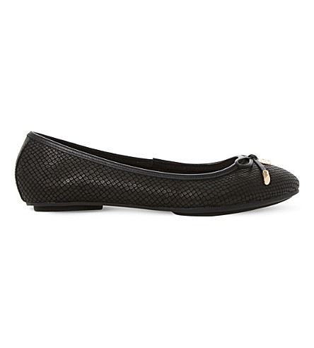 DUNE Hype leather ballerina shoes (Black-reptile