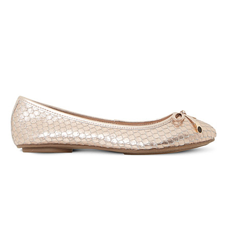DUNE Hype reptile-effect metallic leather ballet flats (Rose+gold-reptile