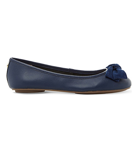 DUNE Hypnotise velvet bow leather ballet flats (Navy-leather
